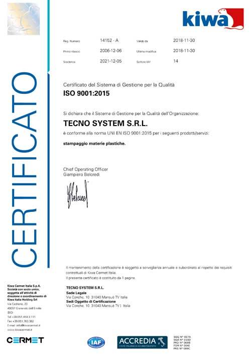 iso 9001:2015 tecnosystem stampaggio materie plastiche